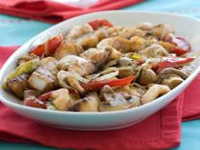 krokant gebakken varkensvlees met champignons