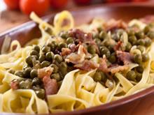 pasta met spek en erwtjes